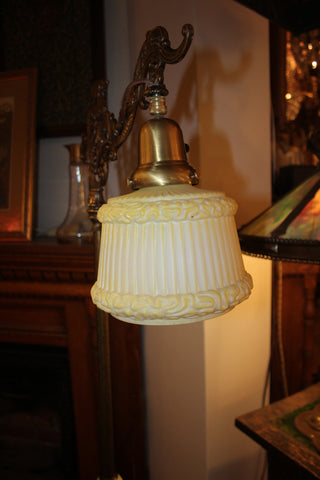 Circa 1900 Highly Stylized Gryphon and Sea Serpent Bridge Arm Lamp with Antique Silk Pleat Glass Shade