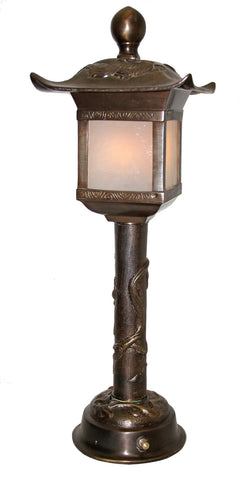 Antique Circa 1880, Single Light, Cast Bronze Dragon Table Lamp With Pagoda Top