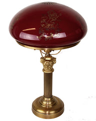 Antique Circa 1905-10 Edwardian Neoclassical Acanthus Column Desk/Table Lamp with Original Ruby and Gold Etched Shade