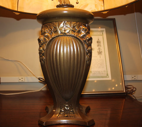 Outstanding Antique Circa 1905-1910 Panel Glass Table Lamp Attributed to the Pittsburgh Lamp Co.