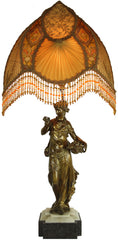 Antique Circa 1800, Single Light, Grecian Figural Maiden Bookend Conversion With a Marble Base