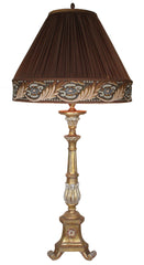 Antique Circa 1940, Single Light, Italian Three Footed Scroll Candlestick Fitted With a Handmade Lampshade