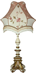 Antique Circa 1900, Single Light, Gesso Hand Painted Italian Three Footed Wood Candlestick Fitted With a Handmade Lampshade