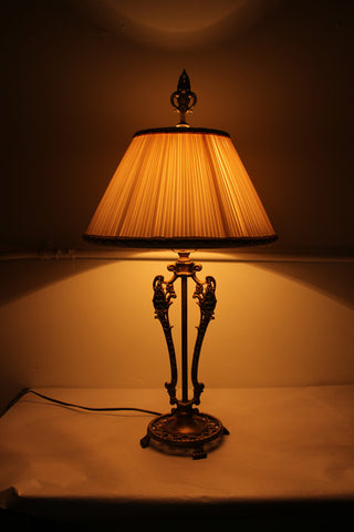 Antique Circa 1915, Cast Openwork Four Footed Table Lamp with Fleur De Lis Details And Handmade Silk Pleated Shade