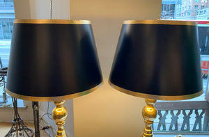 Pair of Tall Vintage 1960s Solid Brass Table Lamps with Black and Gold Leaf Shades