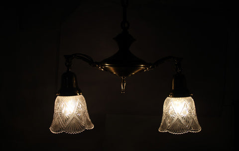 Antique Circa, 1920, Two Light, Pan Fixture With Cast Acanthus Arms and Antique Pressed Glass Shades
