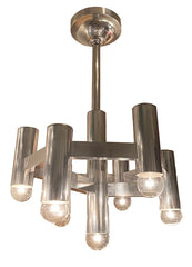 PAIR AVAILABLE -  Vintage 1960s Gaetano Sciolari Seven Light Aluminum Geometric Chandelier