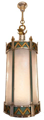 Grand Circa 1930 Antique Art Deco Lantern with Original Nickel, Brass and Green Enamel Finish