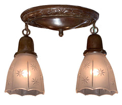 Antique Circa 1910 Embossed Wreath Oval Flush Mount with Antique Pressed Glass Star Cut Shades