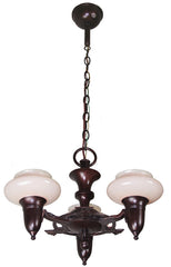 Circa 1930, Three Light, Art Deco Pudding Bowl Chandelier