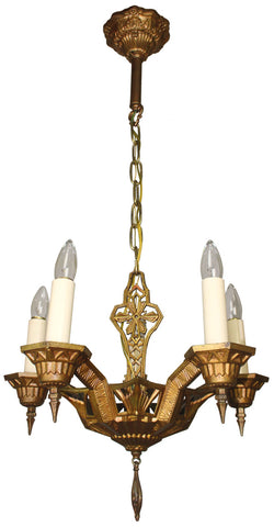 Antique Circa 1930, Five Light, Geometric Chandelier With Sunburst and Truss Details