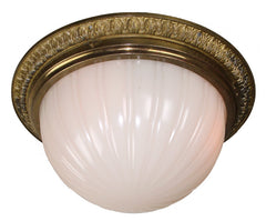 Antique Circa 1905, Four Light, Edwardian Flush Mount Fitted With a Milk Glass Dome and Cast Acanthus Border Holder