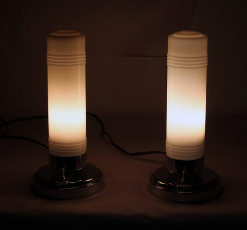 $600 PAIR - Antique Circa, 1930, Single Light, Art Deco Milk Glass Bullet Boudoir Lamps With Stepped Geometric Bases