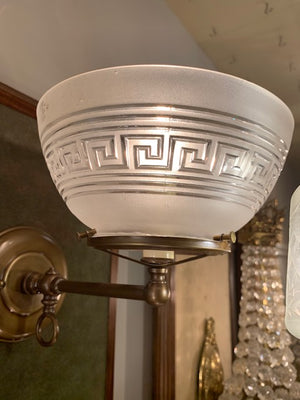Antique 1890s Converted Gas Wall Sconce with Greek Key Pressed Glass Shade