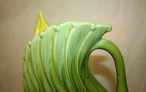 Antique Circa, 1960, Chartreuse Swan Pottery T.V. Lamp