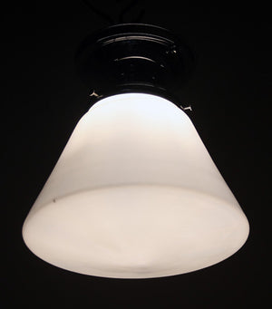 Antique Circa, 1940, Single Light, Polished Flush Mount With Original Milk Glass Shade