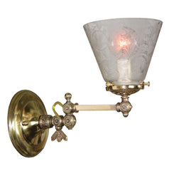 $790 PAIR - Antique Circa 1880 Adjustable Converted Gas Eastlake Wall Sconces With Antique Stencil Etched Shades