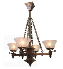 Antique Circa, 1900, Four Light, Arts & Crafts Gas Converted Fixture With Antique Stencil Etched Shades