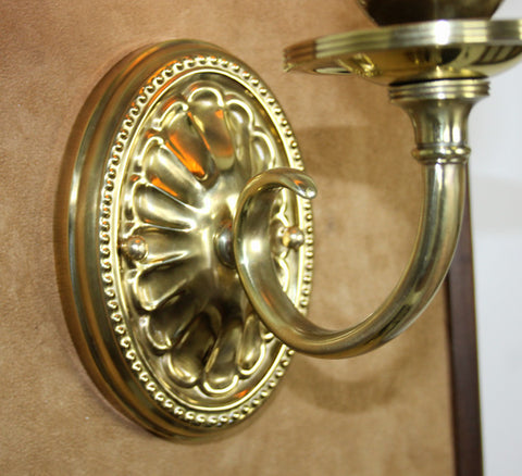 $990 PAIR - Antique Circa 1910 Edwardian Scroll Arm Wall Sconce With Embossed Oval Backs and Art Glass Shades