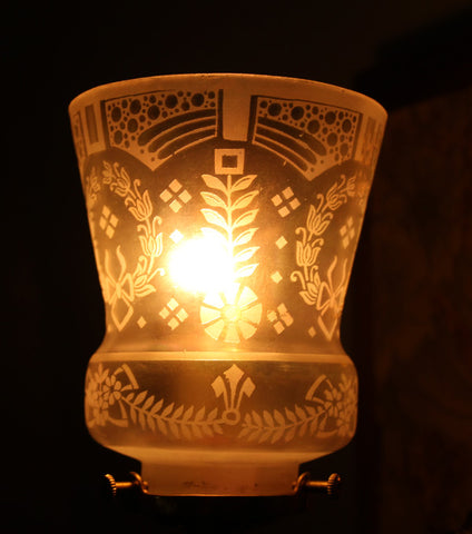 Acid Etched Floral and Wreath Motif Shade Lit