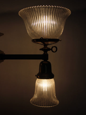 Antique Circa, 1905, Four Light, Early Electric Mission Fixture With Antique Holophane Shades