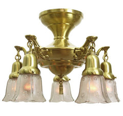 Antique Circa, 1920, Close Mount Five Light Pan Fixture With Cast Scroll Details and Antique Pressed Glass Shades