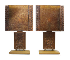 $1200 PAIR - Rare Pair of Albert Gilles Art Deco Table Lamps
