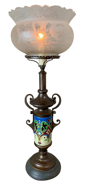 Antique Circa 1880 Eastlake Converted Gas Portable Table Lamp with Longwy Porcelain Base and Antique Acid Etched Crown Top Shade