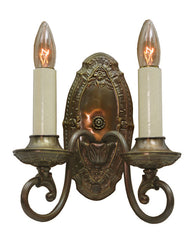 $850 PAIR - Antique Circa 1910, Two Light, Edwardian Wall Sconces With Floral and Embossed Details