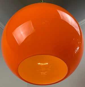 $750 PAIR - Vintage Pair of 1970s Mid Century Modern Orange Globe Pendants