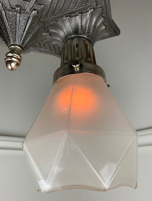 Stunning Antique 1930s Geometric Art Deco Flush Mount with Antique Geometric Glass Shades