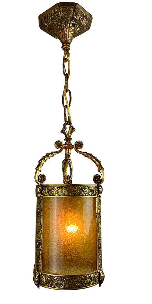 Antique Circa 1910-20s Era Tudor Revival Lantern with Original Antiqued Gold Finish and Crackle Amber Glass Cylinder