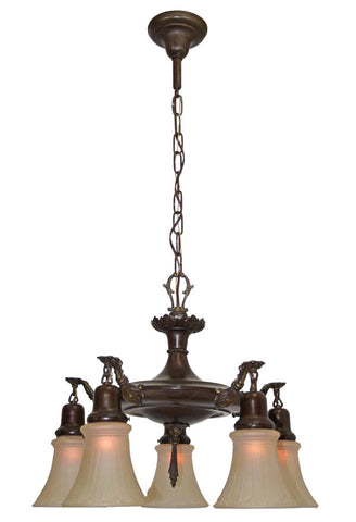 Antique Circa 1920 Pan Fixture With Acanthus Arms and Beaded Details