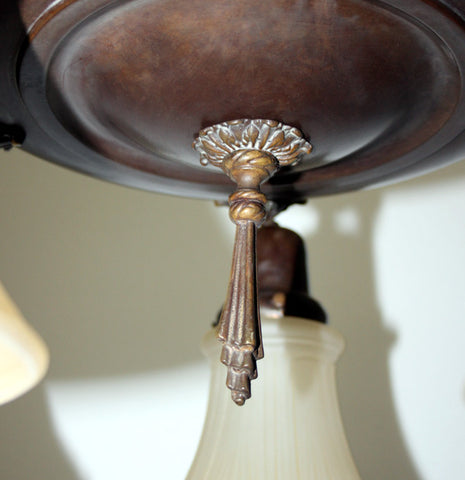 Antique Circa 1920, Five Light, Pan Fixture With Acanthus Arms and Beaded Details