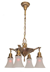 Antique Circa, 1920, Four Light, Pan Fixture With An Embossed Paneled Acanthus Centerbody