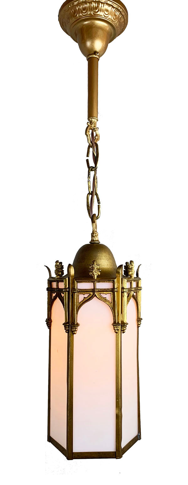 Antique Circa 1910 Gothic Revival Lantern with Original Antique Gold Finish and Opal Glass