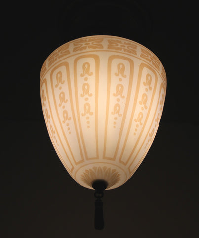 Antique Circa 1915, Single Light, Stenciled Milk Glass Close Mount With A Stepped Canopy