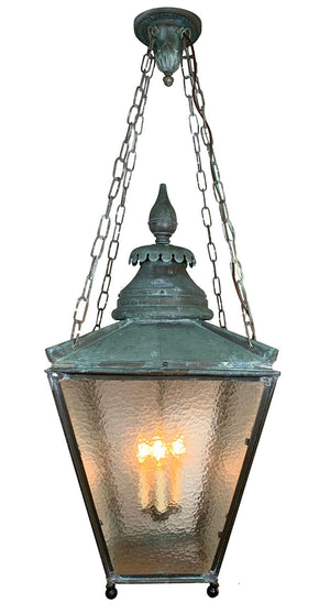 Circa 1880s Copper Four Sided Lantern with Original Hammered Glass and Verdegris Patina