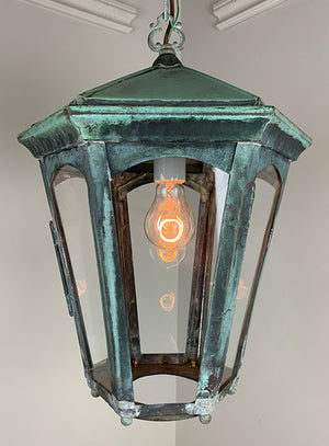 Antique Circa 1900s Copper Six Sided Exterior Lantern with Original Patina