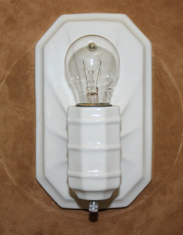 Antique Circa 1930 Art Deco White Porcelain Wall Sconce With Stylized Octogonal Backplate