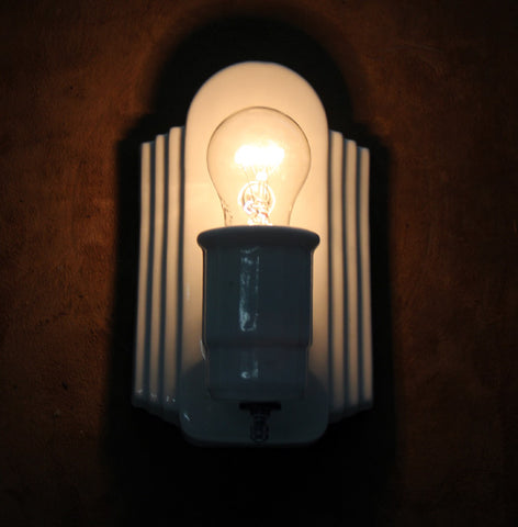 Antique Circa 1930 Art Deco White Porcelain Wall Sconce With Stepped Geometric Backplate