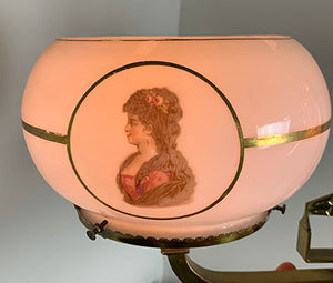 "Incredible 1800s Eastlake Converted Gasolier with Antique Opal Center Shade and Antique Hand Painted Sandwich Glass 5"" Fitter Cameo Shades"