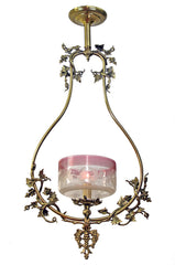 Antique Circa 1850 Cornelius & Baker Converted Gas Hall Hoop With Grape & Vine Motifs Fitted With A Ruby Etched Butterfly Shade
