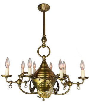 Amazing 1880s-90s Anglo Moorish Nine Light Converted Gasolier Attributed to Cassidy & Son Mfg. Co of New York