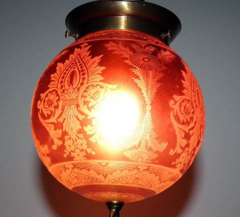 Antique Circa 1910  Pendant Fixture With An Antique Acid Etched Ruby Glass Shade
