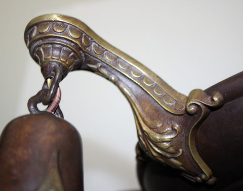 Antique Circa 1920 Embossed Pan Fixture With Acanthus Details and Urn Top