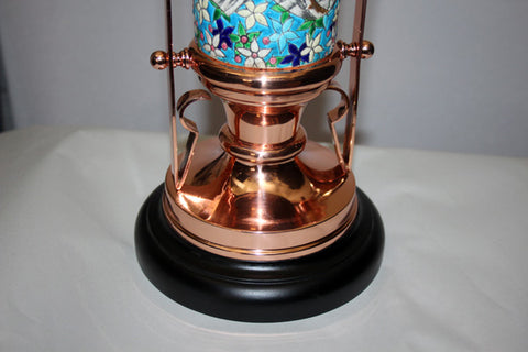 Antique Circa 1880 Aesthetic Movement Eastlake Converted Gas Newel Post Table Lamp With Original Floral Longwy Porcelain