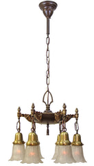 Antique Circa 1908 Ornate Early Pan Light With Cast Acanthus and Finials