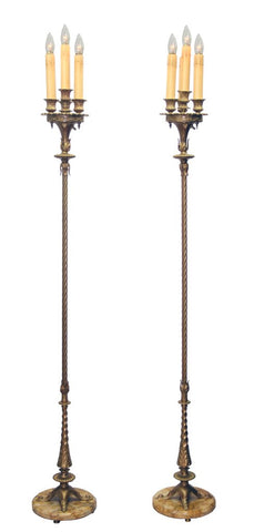 pair of edwardian floor lamps