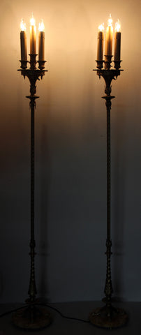 $2500 PAIR - Antique Circa 1910 Pair of Candelabra Floor Lamp With Four Footed Marble Bases